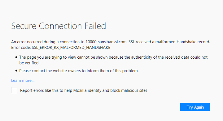 Error Secure Connection Failed di Google Chrome dan Mozilla