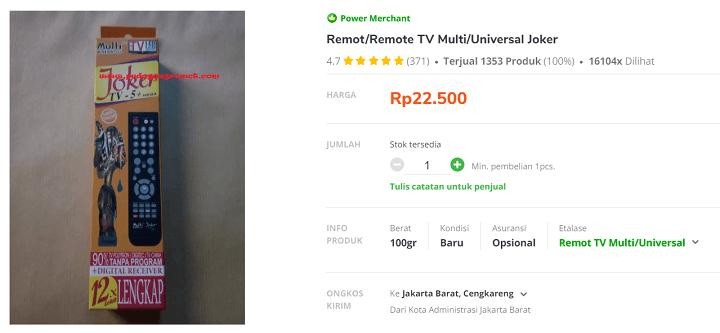 Harga dan Spesifikasi Remot Joker