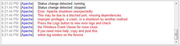 Contoh Pesan Error Apache Shutdown Unexpectedly