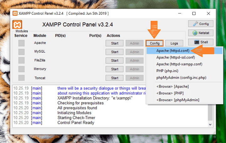 Memperbaiki Xampp Error Shutdown Unexpectedly