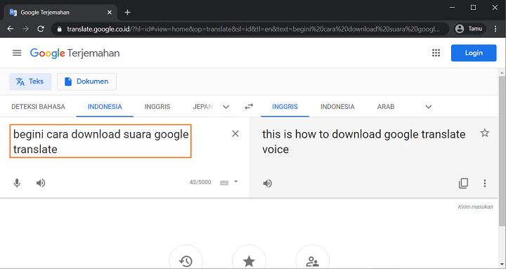 Ketikkan Text Yang Akan di Download di Google Terjemahan