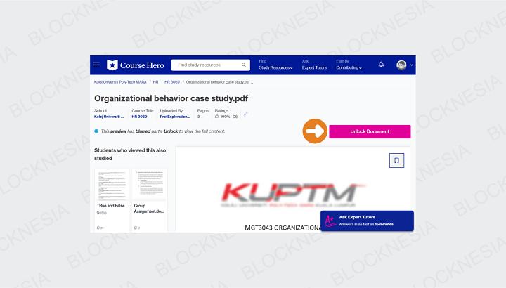 Klik Tombol Unlock Untuk Mulai Download Dokumen di CourseHero