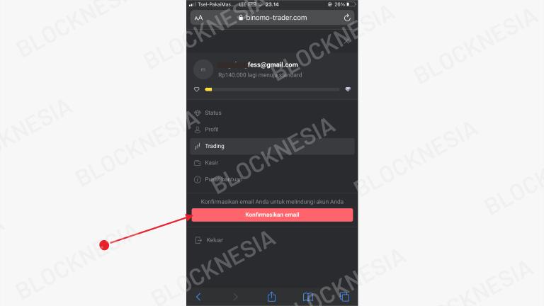 Konfirmasi Email Binomo