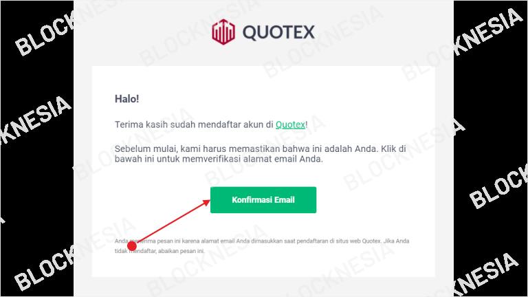 Konfirmasi Pembuatan Akun Quotex
