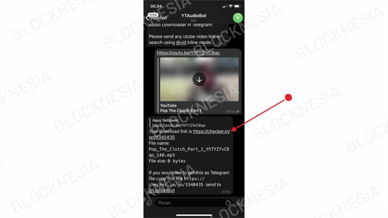 Lagu Youtube Berhasil di Download Lewat Telegram iPhone